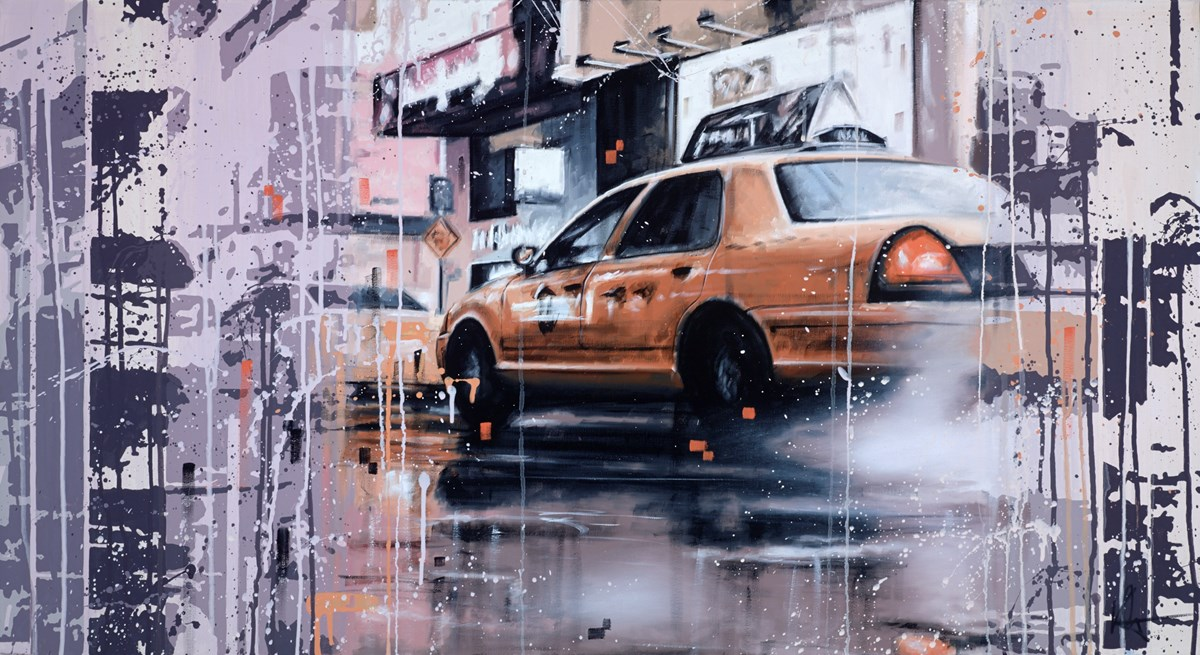New York Taxi III by kris hardy -  sized 44x24 inches. Available from Whitewall Galleries